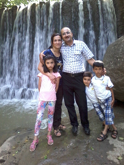 Idrak Abbasov pictured with his wife and three children. The Azerbaijani journalist is living in exile in Norway after being warned he would be imprisoned for his work. (Idrak Abbasov)