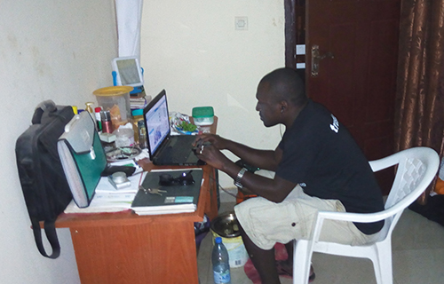 Sanna Camara has been able to continue working as a reporter while in exile, and says he has been given more freedom to cover sensitive issues. (Sanna Camara)