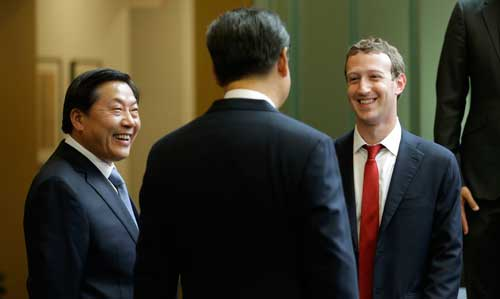 Chinese President Xi Jinping, center, talks with Facebook Chief Executive Mark Zuckerberg, right, as Lu Wei, left, China's Internet czar, looks on at Microsoft's main campus in Redmond, Washington, on September 23, 2015. Lu Wei left the Cyberspace Administration of China at the end of June. (AP/Ted S. Warren)