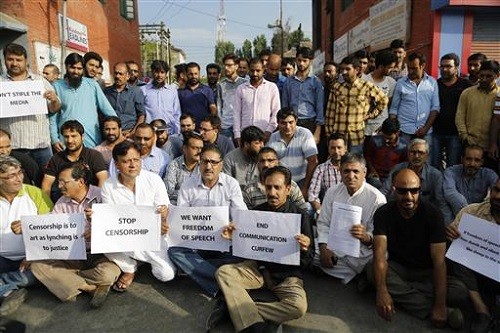 In this July 16 photo, Kashmiri journalists protest against the government in Srinagar, Indian-controlled Kashmir, where authorities have shut down printing presses and banned newspapers after days of anti-India protests.(AP/Mukhtar Khan)