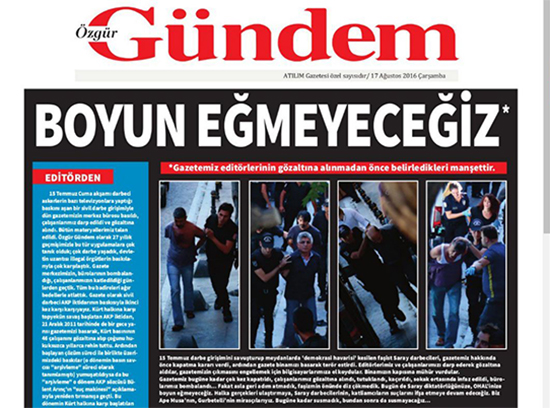"A screenshot shows the shuttered newspaper Ozgur Gundem's defiant headline, ""We will not submit,"" August 17, 2016, the day after a court ordered the newspaper to stop publishing and police raided its offices. The socialist weekly Atilim said it published the special edition as an act of solidarity."