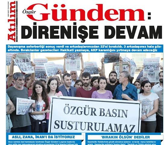 "A screenshot shows the August 19, 2016, front page of Özgür Gündem newspaper, released as a special edition of the socialist weekly Atılım, bearing the headline ""Resistance continues."""