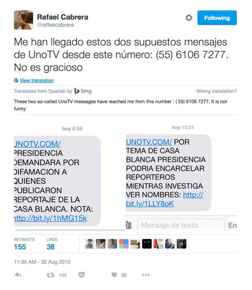 This screen shot from Twitter shows two links that were disguised in messages to Rafael Cabrera, a Mexican investigative journalist, appearing to originate with another news organization. Cabrera does not appear to have been hacked, showing that journalists who are vigilant can avoid malware.