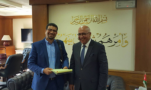 Musa Maaytah, Minister of Political and Parliamentary Affairs, with CPJ's Sherif Mansour, left. The minister says Jordan is open to discussing public freedoms. (CPJ)