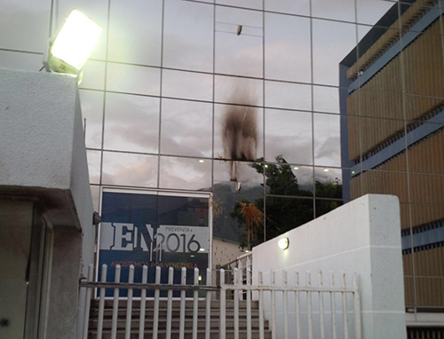 The damaged offices of El Nacional. Homemade explosives and excrement were thrown at the paper's Caracas offices this week. (El Nacional)