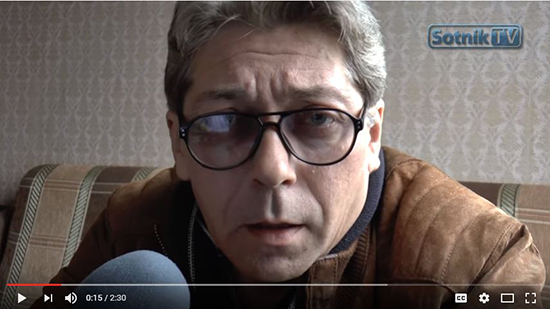 Aleksandr Sotnik announces his flight from Russia, following threats, in this screenshot of the September 20, 2016 episode of his YouTube show.