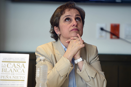 Carmen Aristegui, pictured at a news conference in July, is being sued by MVS, the broadcaster she used to work for. Changes to a law on fines in civil cases is making journalists in Mexico vulnerable. (AFP/Alfredo Estrella)