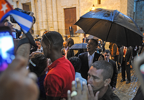 President Barack Obama walks through the crowds in Havana in March 2016 after diplomatic ties between the U.S. and Cuba were restored. (AFP/Yamil Lage)