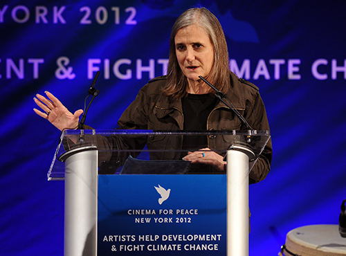 Journalist Amy Goodman, pictured at an event in 2012, is facing a charge of rioting after covering protests in September. (AFP/Dimitrios Kambouris/Getty Images)