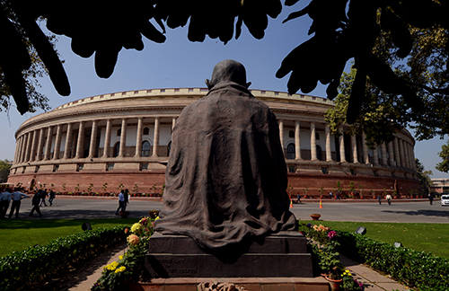 India's Parliament in New Delhi. A private members' bill to decriminalize defamation will be heard during its winter session. (AFP/Money Sharma)