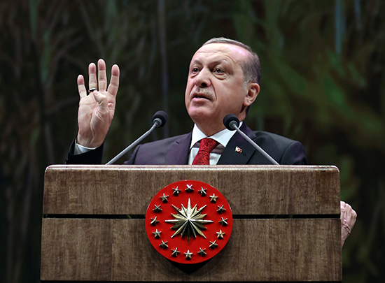 Turkish President Recep Tayyip Erdoğan addresses farmers in Ankara, November 14, 2016. (Murat Cetinmuhurdar/Presidential Press Service/Pool/AP)