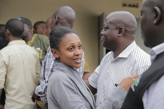 TV journalist Joy Doreen Biira walks out of the Kasese police station in Uganda, November 28, 2016. (Arne Gillis/NurPhoto via Getty Images)