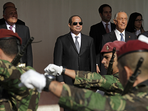 President el-Sisi, pictured with Portugal's president, right, during a state visit to Lisbon. The Egyptian leader told a broadcaster he supports freedom of expression. (Jose Manuel Ribeiro/AFP)