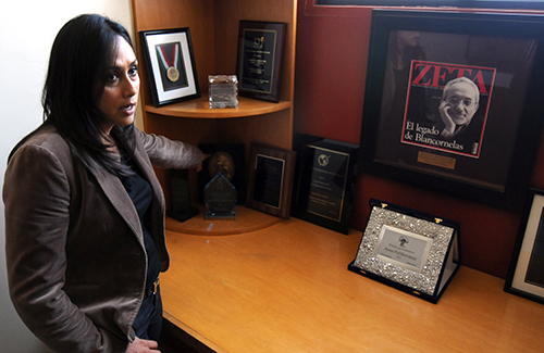 Adela Navarro Bello, the director of Zeta, at the magazine's headquarters in 2011. Police are stationed at Zeta's office after a cartel plot to attack the magazine was discovered. (AFP/Ruben Victorio)