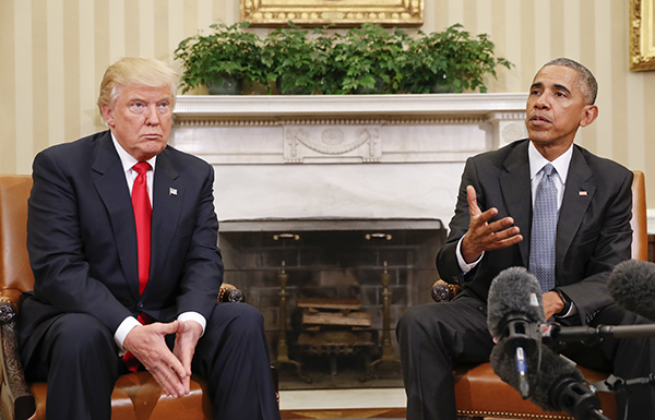 President-elect Donald Trump meets with President Barack Obama in November as the new presidential administration prepares to take over the U.S. (AP/Pablo Martinez Monsivais)
