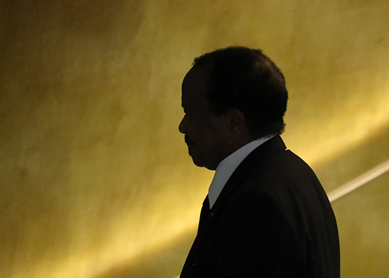 Cameroonian President Paul Biya leaves the podium after addressing the U.N. General Assembly in New York, September 22, 2016. (Reuters/Carlo Allegri)