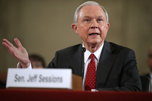 Senator Jeff Sessions at his attorney general confirmation hearing on January 10. Sessions was asked if he would commit to not jailing journalists. (Chip Somodevilla/Getty/AFP)