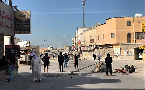 Protesters block a road in Bahrain on January 15 after authorities executed three men convicted of a deadly attack on police. (AP)