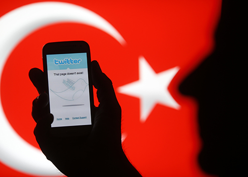 A phone showing a Twitter error message in 2014. A member of Turkey's opposition party claims police are monitoring social media users as part of a planned crackdown. (Reuters/Dado Ruvic)