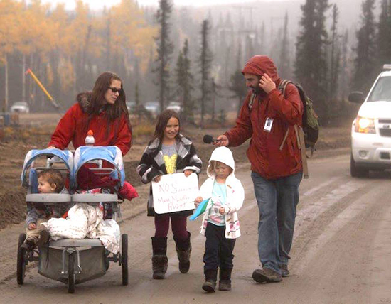 Justin Brake interviews protesters at Muskrat Falls, Labrador, in the fall of 2016. (Janet Cooper)
