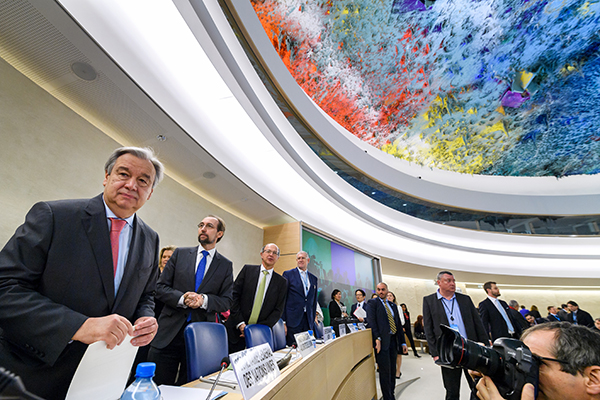 UN Secretary-General Antonio Guterres, left, at the opening of the Human Rights Council in Geneva in February. The council is due to vote on renewing the mandate of a special rapporteur on the situation of human rights in Iran. (AFP/Fabrice Coffrini)