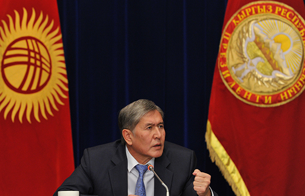 President Almazbek Atambayev, pictured at a press conference in 2013. In recent weeks, the Kyrgyz leader verbally assaulted several critical journalists during a speech to foreign ambassadors. (AFP/Vyacheslav Oseldko)