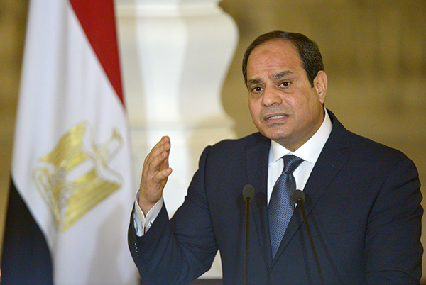 Egypt's President Sisi, pictured in Cairo in March 2017, has declared a state of emergency and said the press needs to be more responsible. (AFP/Khaled Desouki)