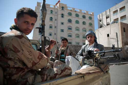 Houthis fighters secure a road between Hodeidah and Sanaa in Yemen on April 19, 2017. Journalists have been threatened and attacked in areas controlled by the Houthis. (AP/Hani Mohammed)