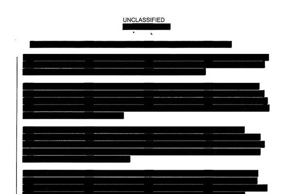 A redacted document given to the author in response to one of his Freedom of Information Act requests. (Jason Leopold)