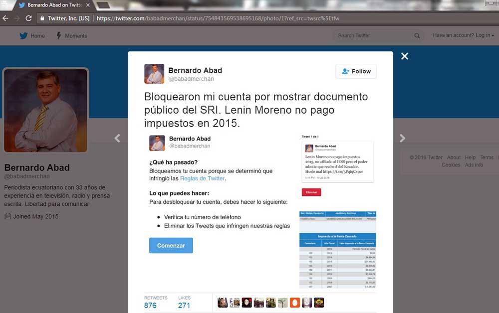 Capture d'écran du compte Twitter du journaliste équatorien Bernardo Abad. La traduction française de son tweet se lit comme suit : « Ils ont bloqué mon compte pour avoir montré des documents publics du Fisc. Lenin Moreno n'a pas payé d'impôts en 2015. » (CPJ)