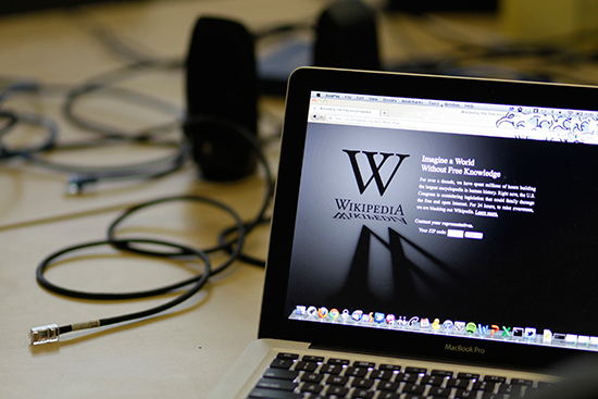 A January 18, 2012, file photo shows a laptop in the San Francisco offices of the Wikipedia Foundation. (AP/Eric Risberg)