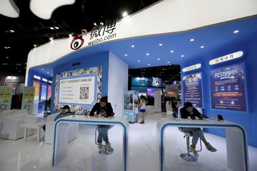 Sina Weibo's booth is pictured at the Global Mobile Internet Conference in Beijing on April 28, 2017. China announced regulations govern websites, apps, microblogs, and, instant messaging. (REUTERS/Jason Lee)