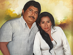 A painting of Gregorio Jiménez and his wife, Carmela. The journalist's widow says she wants convictions to be made in her husband's case. (CPJ/ Miguel Ángel Díaz)
