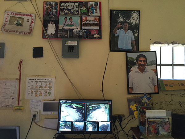 Photos of Moises Sánchez surround a security system installed by Mexico's protection mechanism for journalists after his murder. (CPJ/Miguel Ángel Díaz)