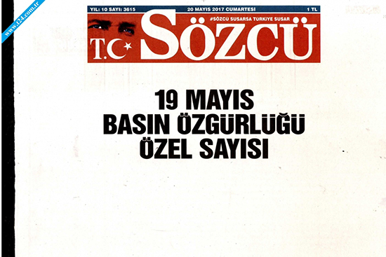 "The pro-opposition newspaper Sözcü on May 19 published a blank edition under the headline, ""May 19 press freedom special edition"" to protest the arrest of two of its journalists the day before."