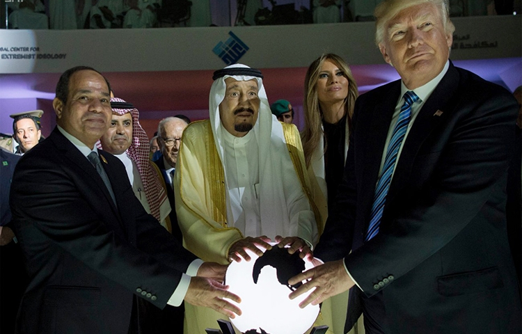 Egyptian President Abdel Fattah al-Sisi (left), King Salman of Saudi Arabia (center), and U.S. President Donald Trump inaugurate the Global Center for Combating Extremist Ideology, in Riyadh, Saudi Arabia, May 21, 2017. (Saudi Press Agency via AP)