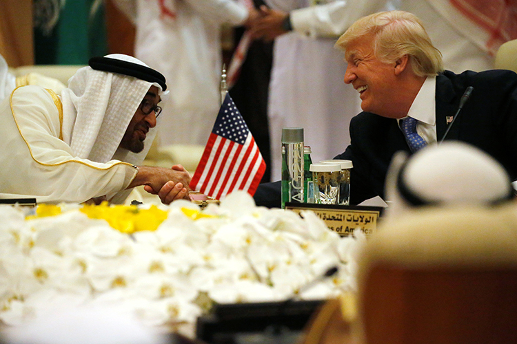 Crown Prince of Abu Dhabi Mohammed Bin Zayed al-Nahyan, who is also deputy commander of the UAE armed forces, shakes hands with U.S. President Donald Trump at a meeting of the Gulf Cooperation Council in Riyadh, Saudi Arabia, May 21, 2017. (Reuters/Jonathan Ernst)