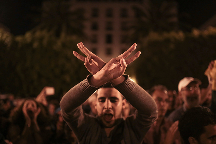 A man gestures at a protest in support of protests in northern Morocco's Rif region, Rabat, May 28, 2017. (AP/Mosa'ab Elshamy)