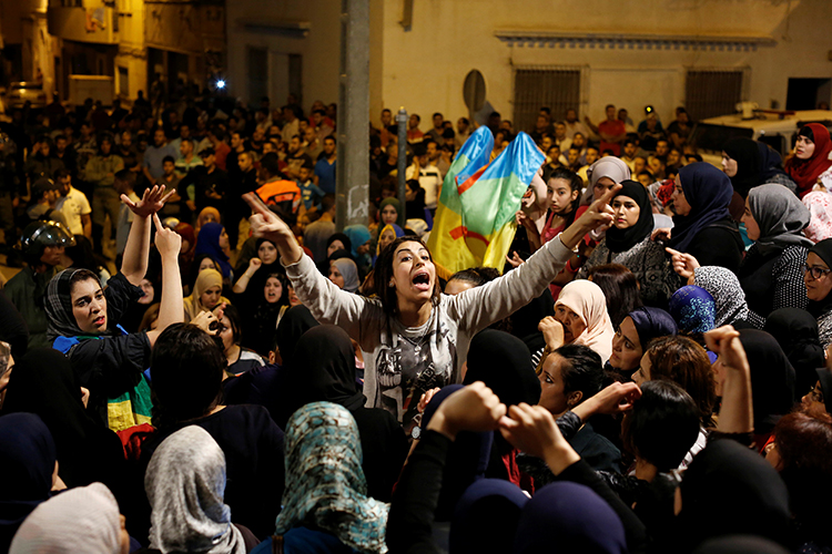 Demonstrators in Al-Hoceima, in northern Morocco's Rif region, protest on June 4, 2017. (Reuters/Youssef Boudlal)