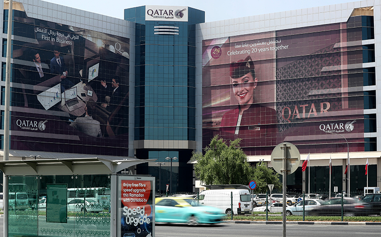 The Qatar Airways office in Doha. Gulf countries imposed a ban on Qatari flights and many have announced penalties for those reporting critically on recent tensions with the country. (AFP/STR)