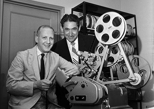 Burton Benjamin, left, with Isaac Kleinerman. (CBS via Getty Images)