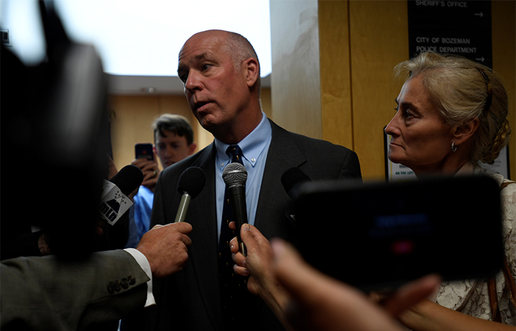 Congressman Greg Gianforte appears in court to face a charge of misdemeanor assault over an attack on Guardian reporter Ben Jacobs in Montana in June. (Reuters/Tommy Martino)