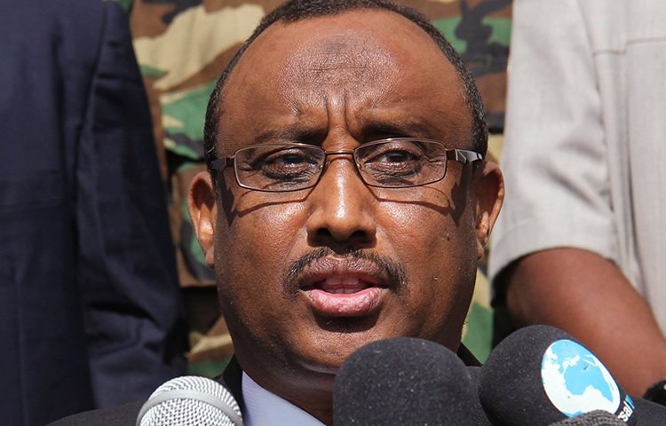 Puntland President Abdiweli Mohamed Ali gives his acceptance speech in Garowe, January 14, 2014. (Reuters)
