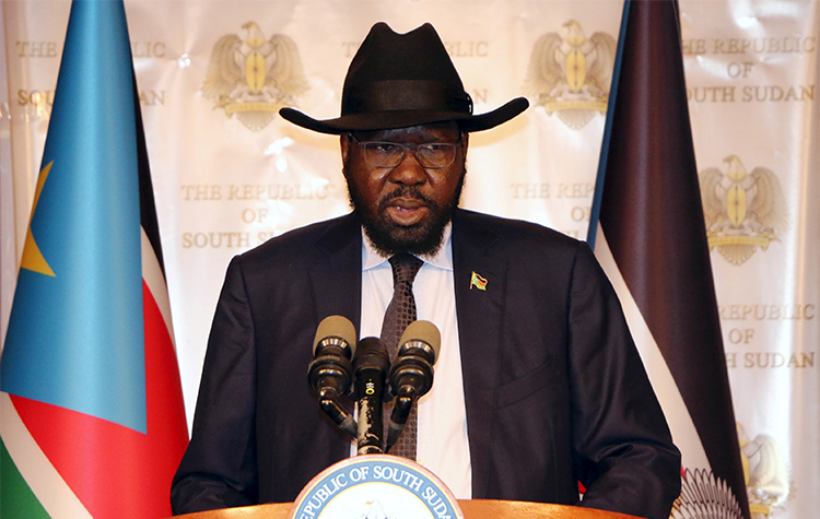 President Salva Kiir gives a speech in Juba on South Sudan's independence day. The family of a broadcasting director say authorities detained the journalist because he did not air the speech. (Reuters/Jok Solomun)