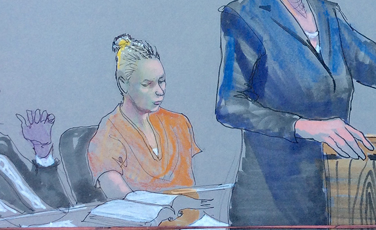 Reality Winner, center, an intelligence contractor charged with leaking classified National Security Agency material, is shown in a courtroom sketch at a hearing in Augusta, Georgia, on June 8, 2017. A group of Senate Republicans claim that leaks to the media under the Trump Administration are harming national security. (Reuters/Richard Miller)
