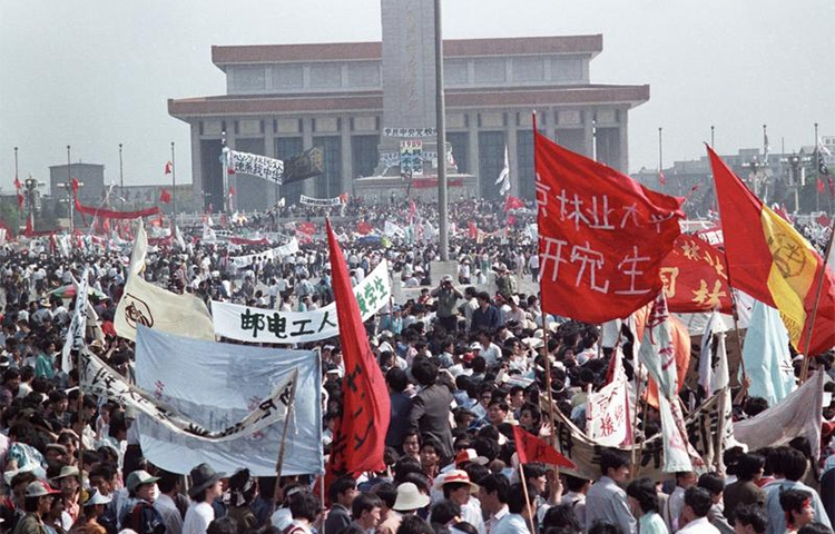 Protesters fill Beijing's Tiananmen Square, May 17, 1989. Yang Tongyan has spent a total of 22 years in prison, including for an earlier conviction for opposing the violent dispersal of the protest.