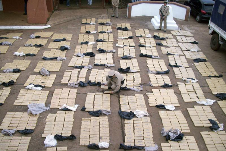 Security forces in Misiones, Argentina, display seized packets of Marijuana, August 25, 2009. (Reuters/Handout)