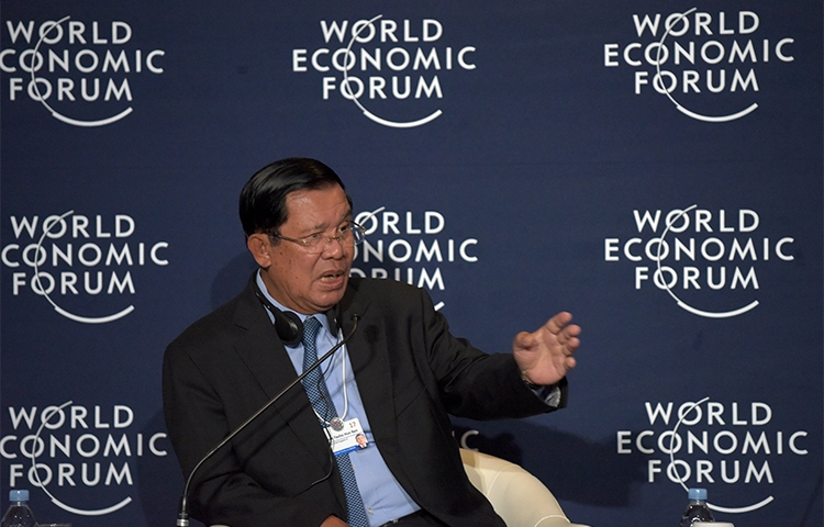 Cambodia's Prime Minister Hun Sen, pictured at the World Economic Forum in May 2017, is pressuring The Cambodia Daily to pay a disputed tax bill or close. (AFP/STR)