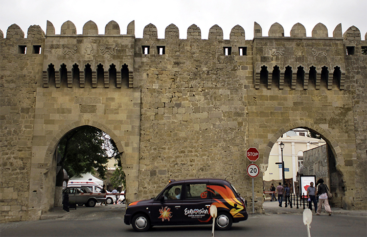 The old city walls in downtown Baku. Azerbaijani authorities in the capital have detained the head of the Turan news agency. (AP/Sergey Ponomarev)