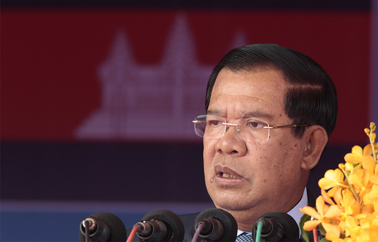 Cambodian Prime Minister Hun Sen, pictured in Phnom Penh, in June 2017. In the country's latest crackdown on foreign media, authorities have started an investigation into an American freelancer. (AP/Heng Sinith)